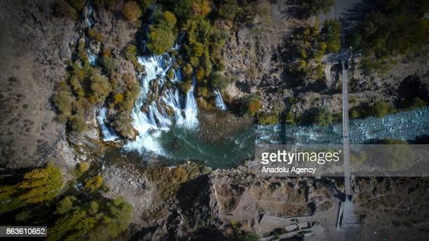 A general view of the Muradiye Waterfall is seen located at Turkey's southeastern Van province on October 19 2017