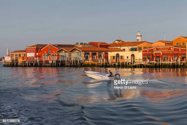 A general view of the Murano Island in the Venice Lagoon is seen from the ferry going to Burano Island on July 1 2015 in Venice Italy According to...