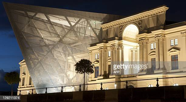 General view of the Museum of Military History in Dresden eastern Germany during the night on October 13 2011 The central museum of the German Armed...