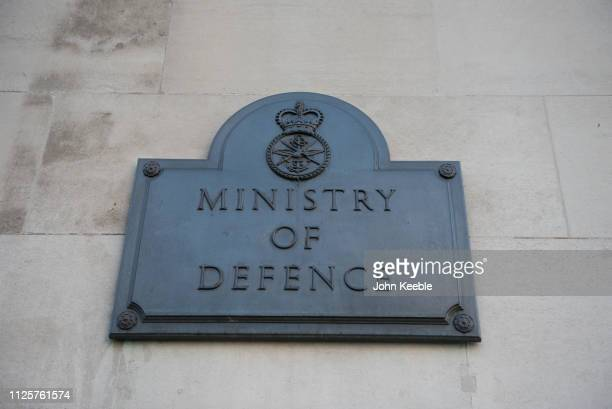 A general view of the name plaque of the Ministry of Defence building on Horse Guards Avenue on January 28 2019 in London England