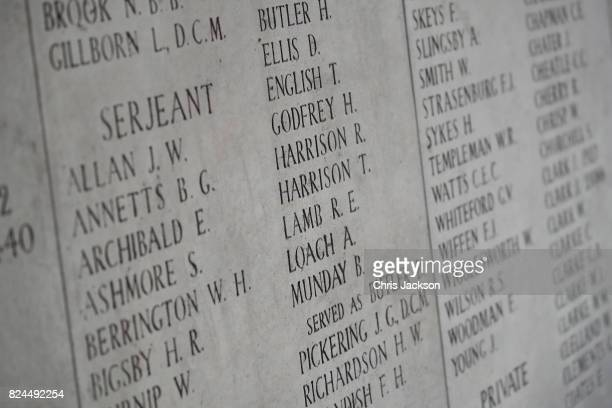 General view of the names of 50,000 lost soldiers which are engraved inside the Menin Gate at the Commonwealth War Graves Commission Ypres Memorial...