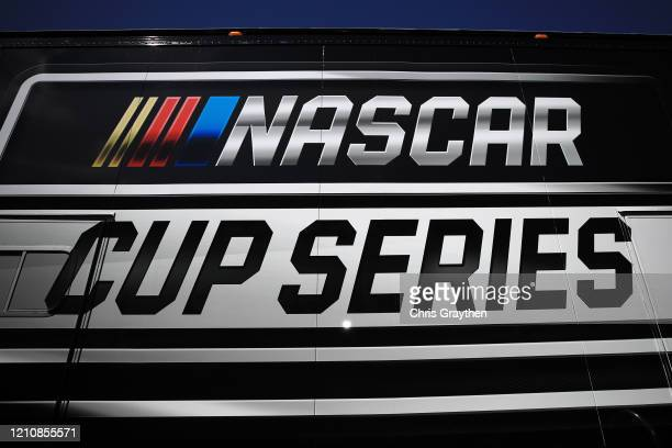 General view of the NASCAR Cup Series logo during practice for the NASCAR Cup Series FanShield 500 at Phoenix Raceway on March 06, 2020 in Avondale,...