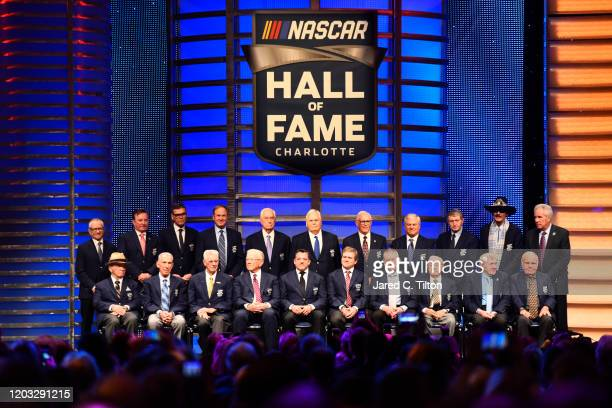 A general view of the NASCAR Hall of Famers following the 2020 NASCAR Hall of Fame Induction Ceremony at Charlotte Convention Center on January 31...