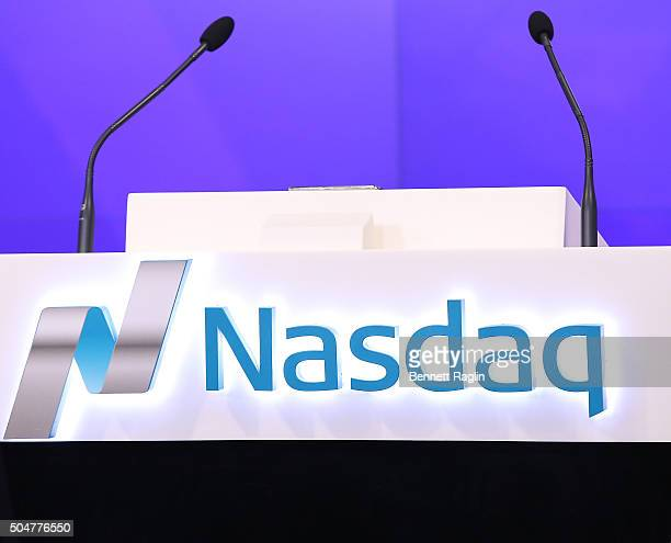 A general view of the Nasdaq logo during the Professional Bull Riders ring the Nasdaq Stock Market opening bell at NASDAQ MarketSite on January 13...