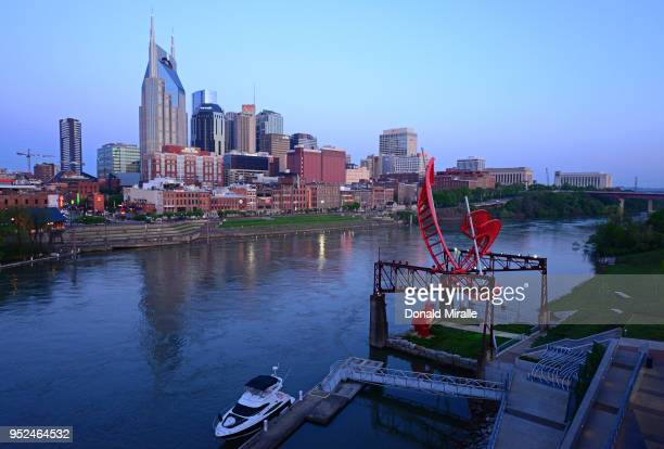 General view of the Nashville Downtown skyline during the St Jude Rock 'n' Roll Marathon Nashville on April 28 2018 in Nashville Tennessee