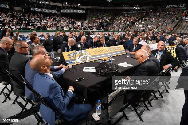 A general view of the Nashville Predators draft table is seen during the first round of the 2018 NHL Draft at American Airlines Center on June 22...