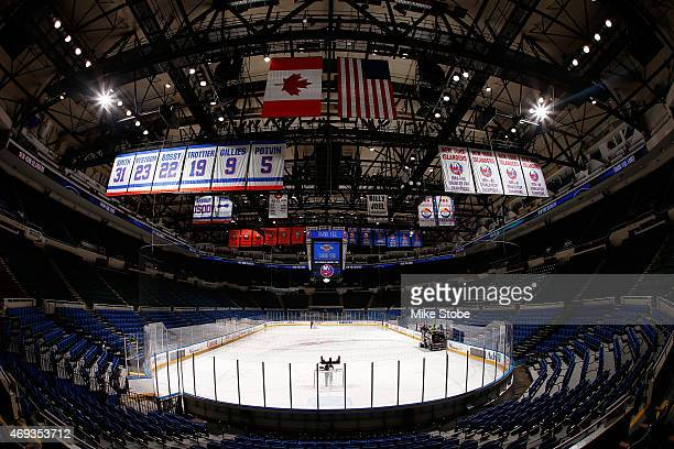 General view of the Nassau Veterans Memorial Coliseum prior to the game between the New York Islanders and the Columbus Blue Jackets at Nassau...