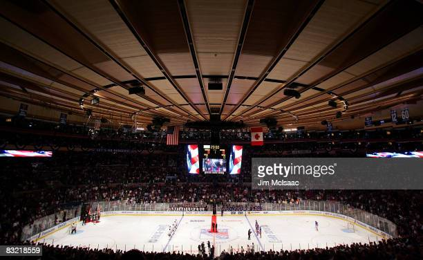 General view of the national anthem before the Chicago Blackhawks play the New York Rangers on October 10, 2008 at Madison Square Garden in New York...