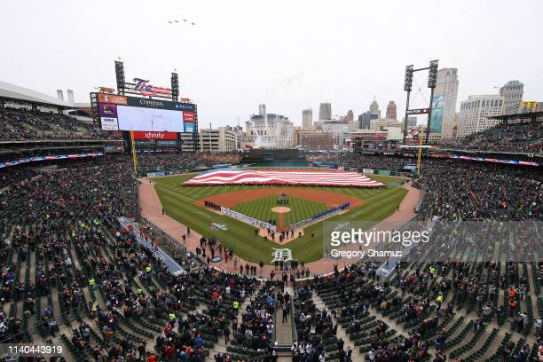 General view of the National Anthem prior to a game between the Kansas City Royals and the Detroit Tigers during Opening Day at Comerica Park on...