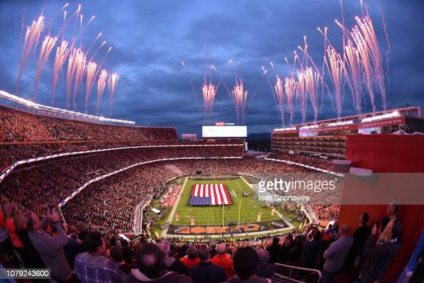General view of the National Anthem prior to the start of the Alabama Crimson Tide's game versus the Clemson Tigers in the College Football Playoff...