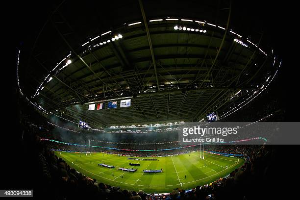A general view of the national anthems during the 2015 Rugby World Cup Quarter Final match between New Zealand and France at the Millennium Stadium...