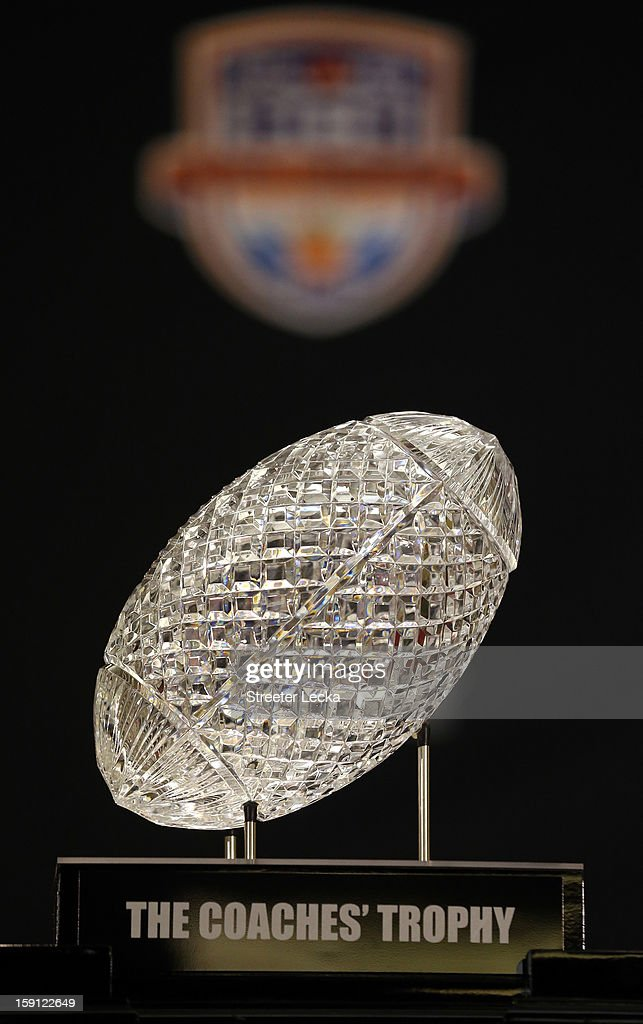 A general view of the National Championship trophy during the Discover BCS National Championship Press Conference at the Harbor Beach Marriott on January 8, 2013 in Fort Lauderdale, Florida.