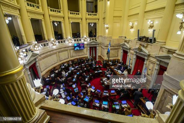 A general view of the National Congress Building while senators vote for the new abortion law on August 8 2018 in Buenos Aires Argentina The bill...