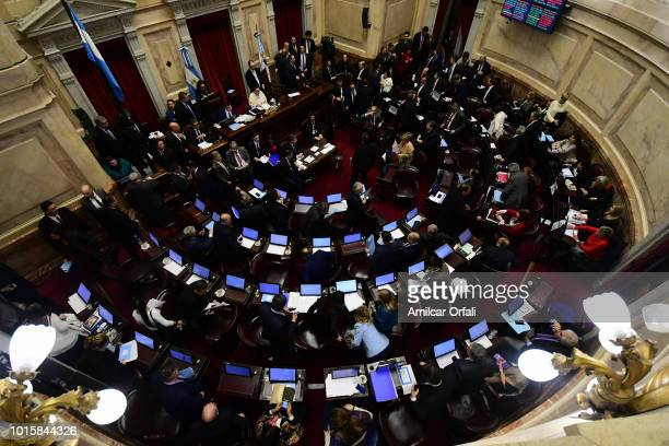 A general view of the National Congress senators vote for the new abortion law on August 9 2018 in Buenos Aires Argentina The bill aims to expand...