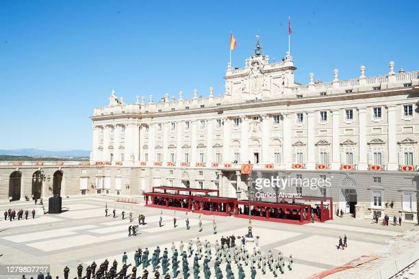 General view of the National Day Military Parade at the Royal Palace on October 12, 2020 in Madrid, Spain.