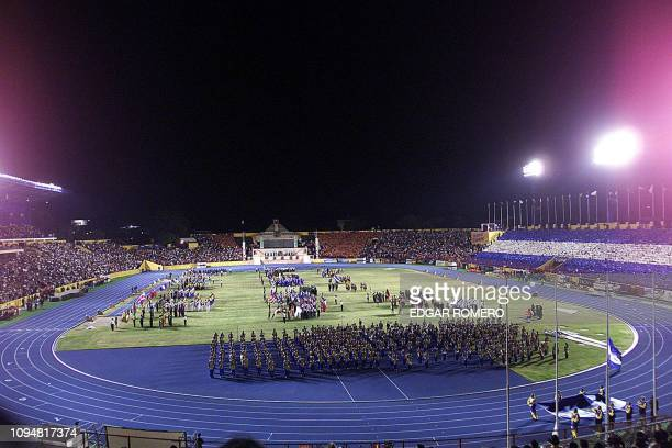 General view of the National Flor Blanca Stadium during the opening ceremony of the XIX Central American and Caribbean Games at the Flor Blanca...