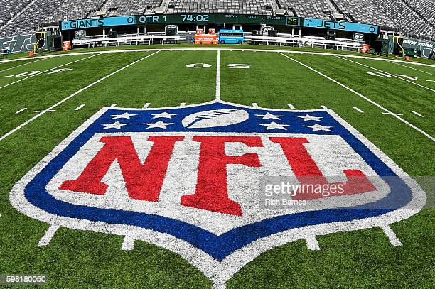 General view of the National Football League logo inside of MetLife Stadium prior to a preseason game between the New York Giants and the New York...