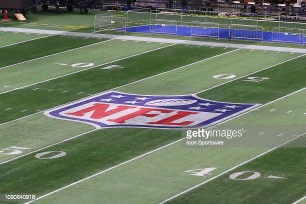 General View of the National Football League logo on the Field inside Mercedes Benz Stadium during Super Bowl LIII week on January 28 2019 in Atlanta...