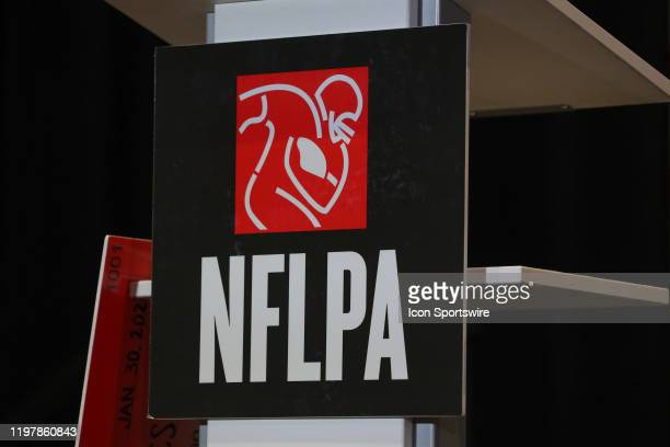 A general view of the National Football League Players Association logo during the NFLPA press conference on January 30 2020 at the Miami Beach...