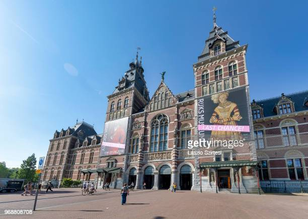 General view of the National Museum from the Museumbrug Bridge on May 28 2018 in Amsterdam Netherlands The museum is dedicated to arts and history...