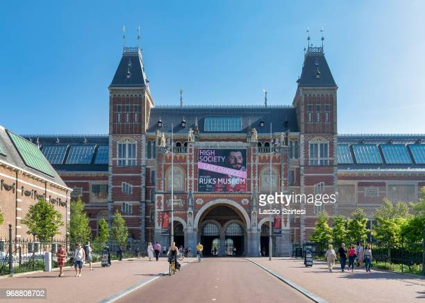 General view of the National Museum from the Museumplein Square on May 28 2018 in Amsterdam Netherlands The museum is dedicated to arts and history...