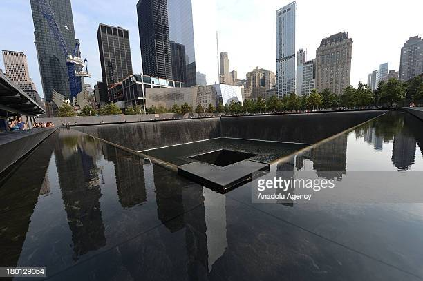 A general view of the National September 11 Memorial on September 8 2013 in New York NY Following the 9/11 attacks in New York the former location of...