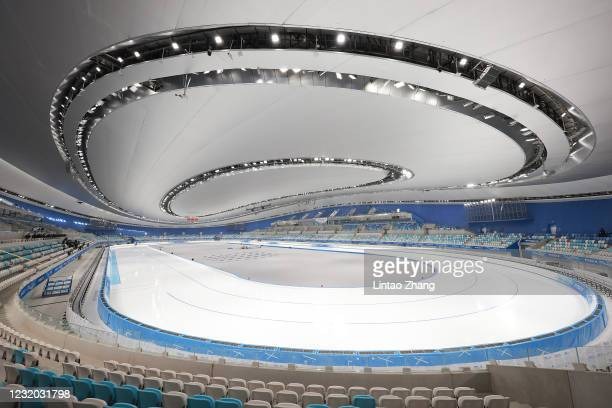 """General view of the National Speed Skating Oval, a new venue built for the 2022 Beijing Winter Olympics, on March 31, 2021 in Beijing, China. A """"Meet..."""