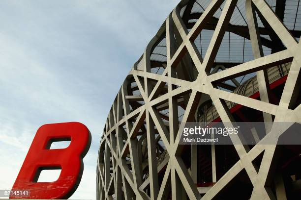 General view of the National Stadium ahead of the Beijing 2008 Olympic Games on August 1, 2008 in Beijing, China.