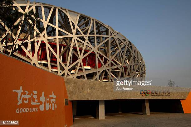General view of the National Stadium also known as the 'Bird's Nest' during day three of the Good Luck Beijing 2008 China Athletics Open at on May...