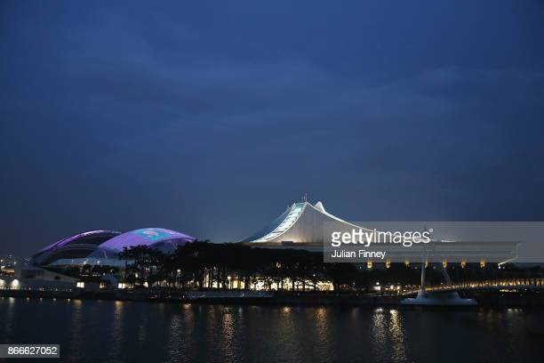 A general view of the National Stadium and the Singapore Sports Hub during day 5 of the BNP Paribas WTA Finals Singapore presented by SC Global at on...