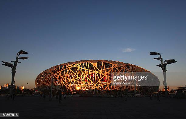 General view of the National Stadium at sunset during the 2008 Beijing Olympic Games on August 15, 2008 in Beijing, China.