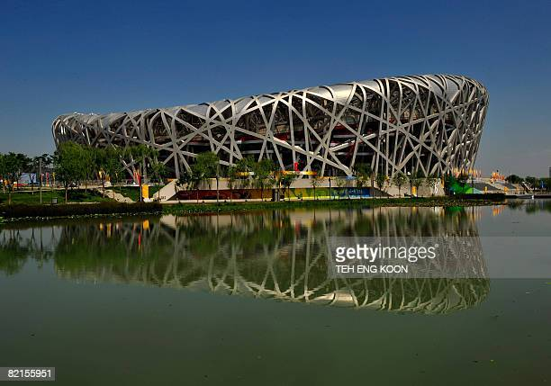 A general view of the National Stadium better know as Bird's Nest seen with blue skies ahead of the Beijing 2008 Olympic Games on the Olympic Green...