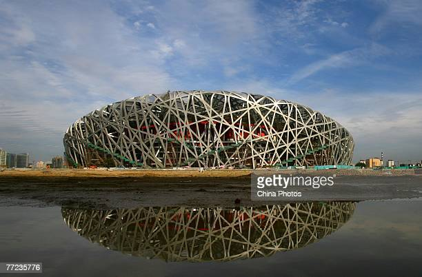 A general view of the National Stadium dubbed the 'Bird's Nest' is seen on October 9 2007 in Beijing China The main structure of the stadium one of...
