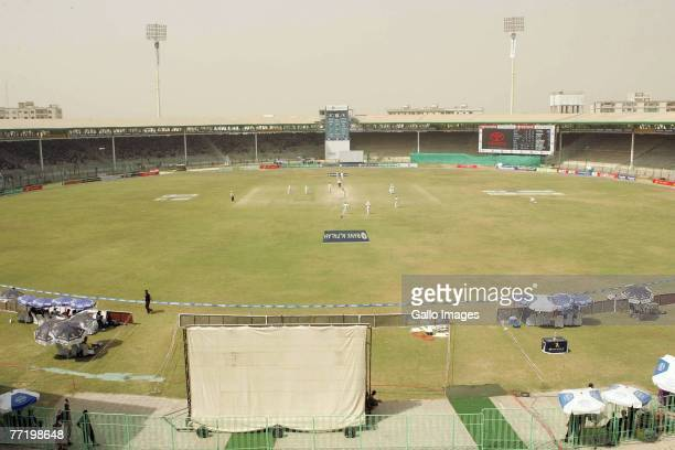 General view of the National Stadium during day five of the first test match series between Pakistan and South Africa held at the National Stadium on...