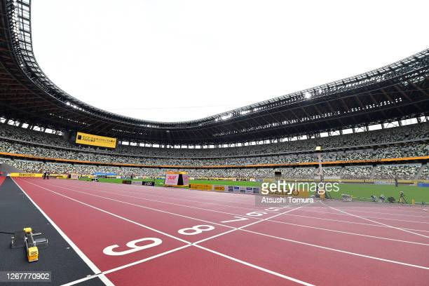General view of the National Stadium during the Seiko Golden Grand Prix at the National Stadium on August 23, 2020 in Tokyo, Japan.
