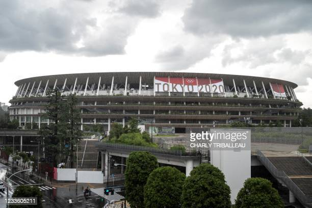 General view of the National Stadium, main venue for the Tokyo 2020 Olympic and Paralympic Games, in Tokyo on June 23, 2021.