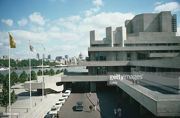 A general view of the National Theatre on the south bank of the River Thames London September 1977 St Paul's Cathedral can be seen in the background