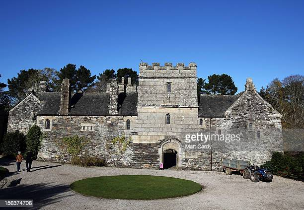 A general view of the National Trust's Cotehele Tudor house on November 14 2012 in Cornwall England At 60ft the Cotehele garland a tradition that was...