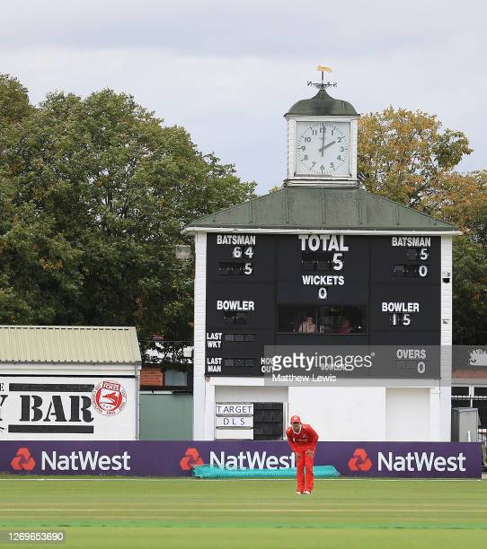General view of the NatWest Advertising boards during the T20 Vitality Blast 2020 match between Leicestershire Foxes and Lancashire Lightning at...
