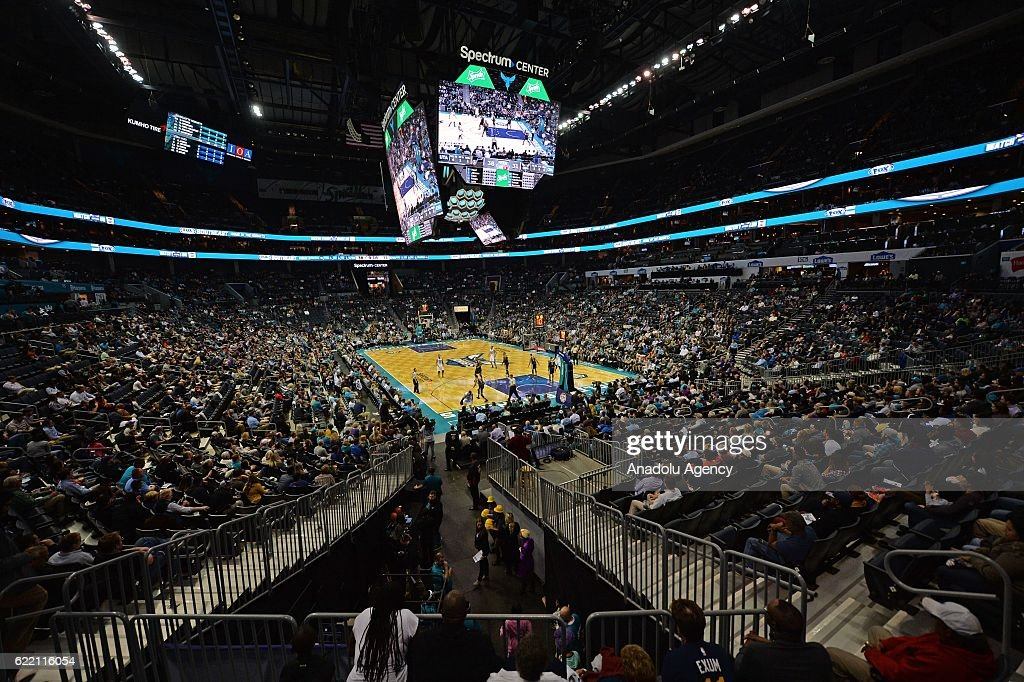 General view of the NBA game between Charlotte Hornets vs Utah Jazz at the Spectrum arena in Charlotte on November 10, 2016.