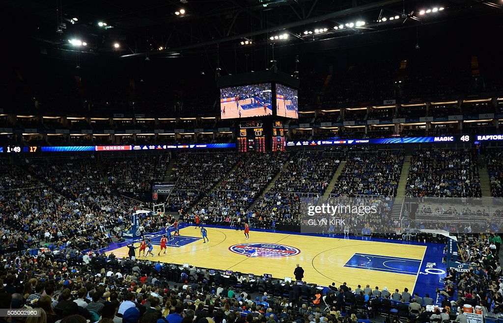 A general view of the NBA Global Game London 2016 basketball match between Orlando Magic and Toronto Raptors at the O2 Arena in London on January 14, 2016.