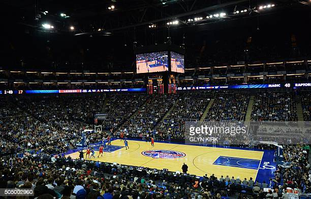 A general view of the NBA Global Game London 2016 basketball match between Orlando Magic and Toronto Raptors at the O2 Arena in London on January 14...