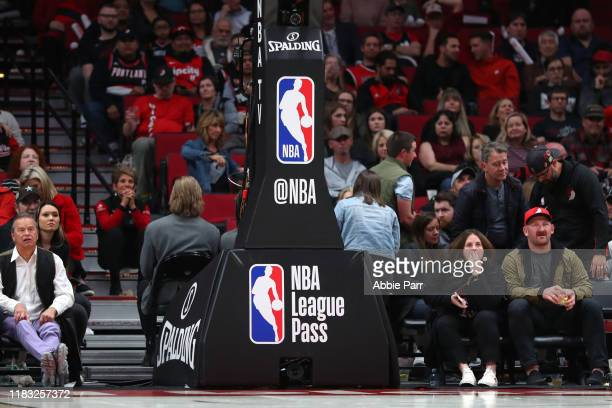 A general view of the NBA logo on the basketball hoop during their season opener at Moda Center on October 23 2019 in Portland Oregon NOTE TO USER...