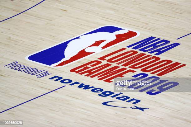 A general view of the NBA London Game 2019 logo on the floor of the court during the NBA London Game 2019 between the Washington Wizards and the New...