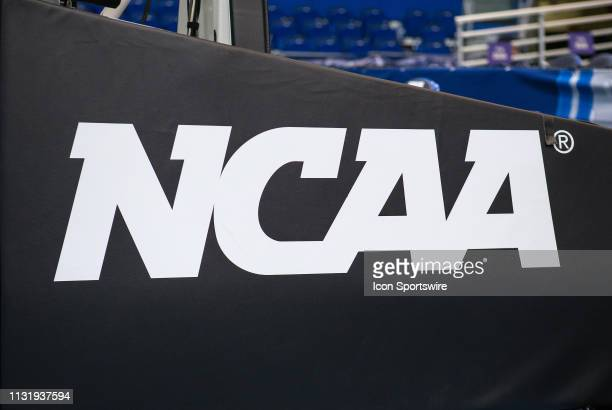 A general view of the NCAA logo during the first round of March Madness on March 21 at XL Center in Hartford CT