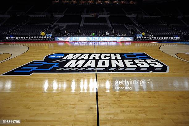 A general view of the NCAA's March Madness logo during the first round of the 2016 NCAA Men's Basketball Tournament at Dunkin' Donuts Center on March...