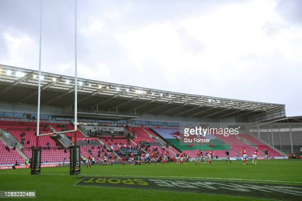 General view of the near empty stadium during the 2020 Guinness Six Nations match between Wales and Scotland at Parc y Scarlets on October 31, 2020...