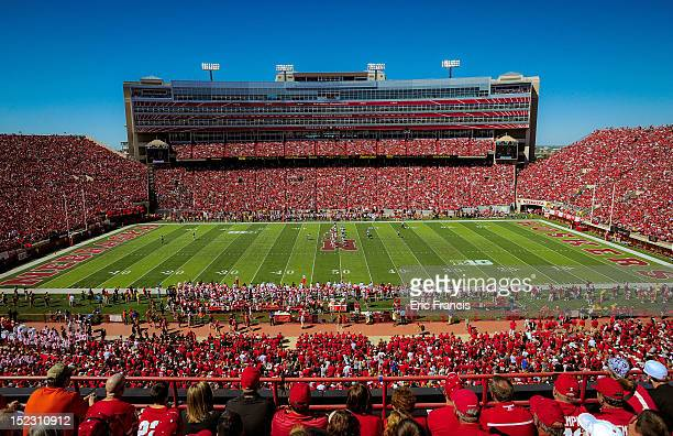 General view of the Nebraska Cornhuskers and the Arkansas State Red Wolves play at Memorial Stadium on September 15 2012 in Lincoln Nebraska