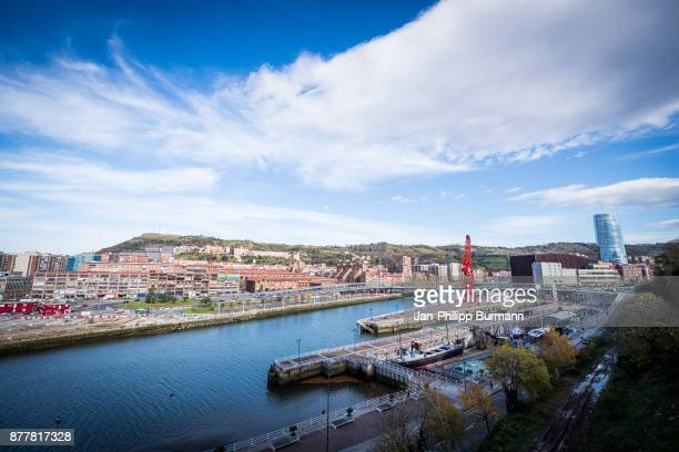 A general view of the Nervión river on November 23 2017 in Bilbao Spain