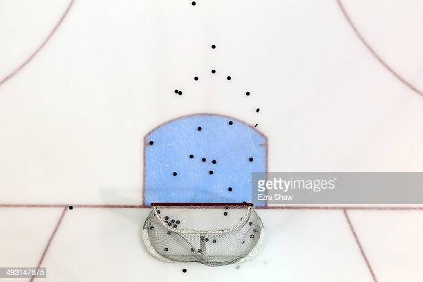 A general view of the net and pucks during pregame before the San Jose Sharks game against the Los Angeles Kings in Game One of the First Round of...